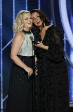 Presenters Amy Poehler and Maya Rudolph speak onstage during the 76th Annual Golden Globe Awards at The Beverly Hilton Hotel on January 6, 2019. Picture: Getty
