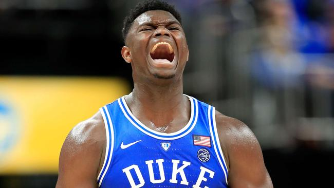 Zion celebrates during a game against the Kentucky Wildcats. Picture: Getty Images