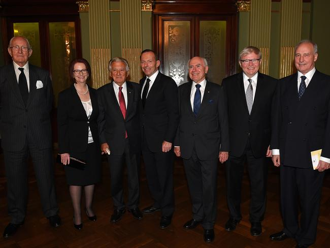 A true sign of his worth to Australia ... Former Prime Ministers (from left) Malcolm Fraser, Julia Gillard, Bob Hawke, Prime Minister Tony Abbott, John Howard, Kevin Rudd and Paul Keating attended Gough Whitlam's memorial service. Picture: Dan Himbrechts
