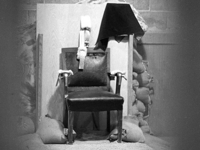 The chair Gilmore sat in when he was executed in Utah State Prison.