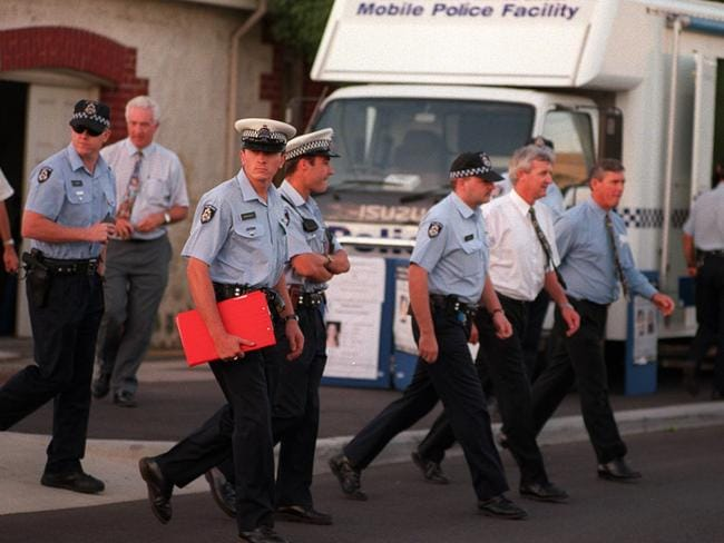 Police near the Continental Hotel in Claremont, after Ciara Glennon's 1997 disappearance seemed to confirm fears a serial killer was at large.