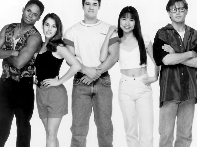 Survivors of Power Rangers. L-R Actors Walter Jones, Amy Jo Johnson, Austin St. John, Thuy Trang and David Yost. Entertainment / TV Shows