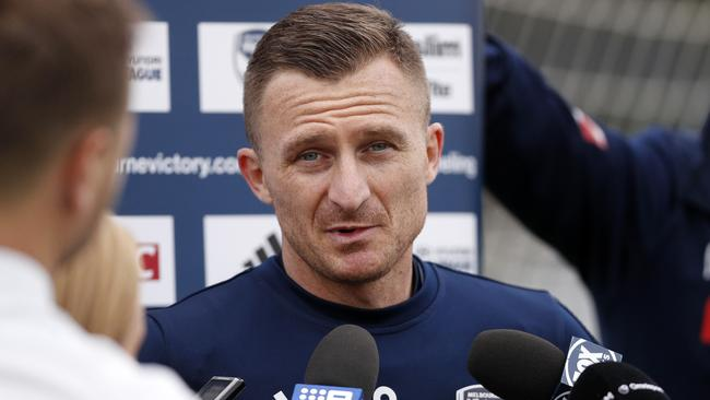 Besart Berisha of the Victory speaks to the media