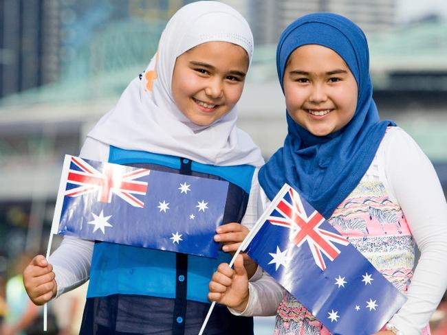 The picture of two Muslim girls pictured at an Australia Day even which has caused controversy.