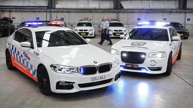 The first batch of BMW and Chrysler highway patrol cars will begin their rollout across the state from next month. Picture: Sam Ruttyn.