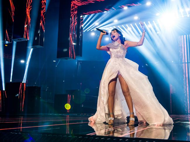 Dami Im performing during the Eurovision Song Contest.
