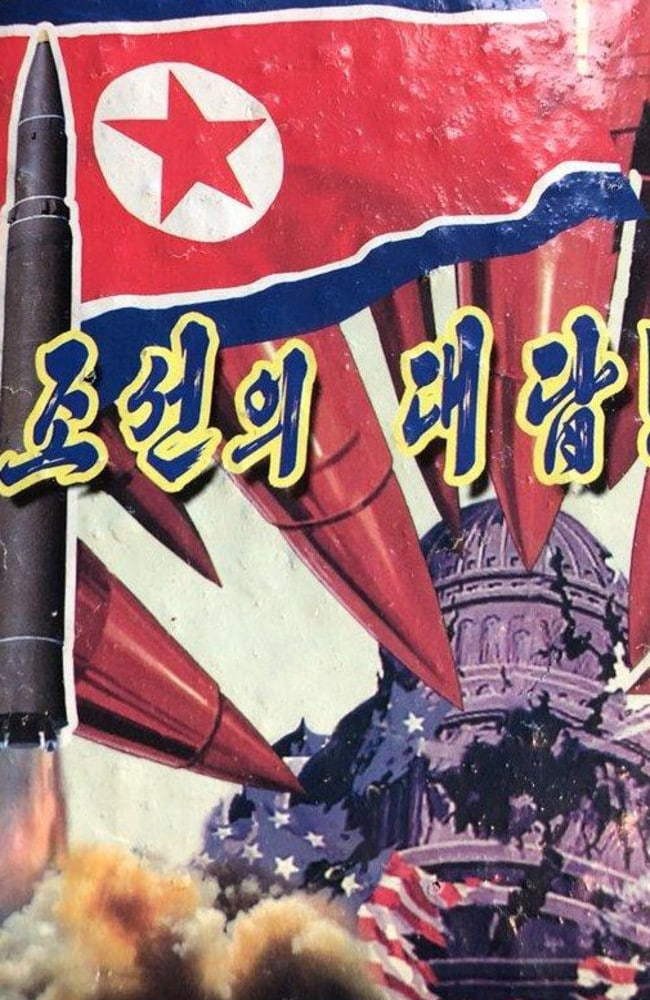 Part of a propaganda leaflet showing the destruction of Washington's Capitol building by North Korean missile