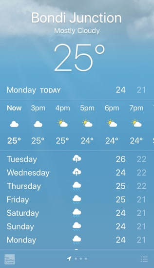 Apple's iPhone weather app appeared to show storms would occur.