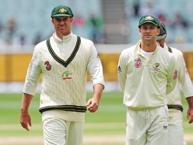 Matthew Hayden (L) and Michael Clarke (R) during the 2008 Boxing Day Test.
