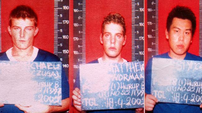 Three of the remaining Bali 9 left in jail (left to right), Michael Czugaj, Matthew Norman and Si Yi Chen.