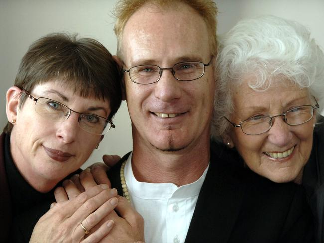 After a 12-year fight to clear his name, Mallard was cleared of murdering Pamela Lawrence. Seen here with his sister Jacqui Mallard and mother Grace Mallard. Picture: Stewart Allen