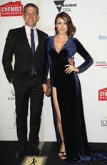 Rhys Muldoon and Natalie Saleeba arrive on the red carpet at the 59th annual TV Week Logie Awards on April 23, 2017 at the Crown Casino in Melbourne, Australia. Picture: Getty