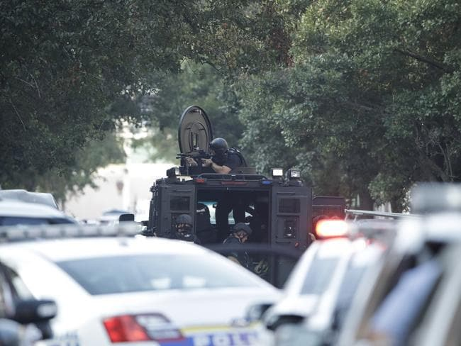 An armoured vehicle at the scene. Picture: AP