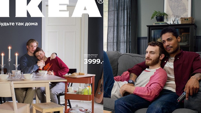 An Ikea catalogue featuring same-sex couples.