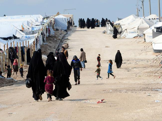 Foreign women and children living in al-Hawl refuge camp which houses relatives of Islamic State group members. Picture: AFP