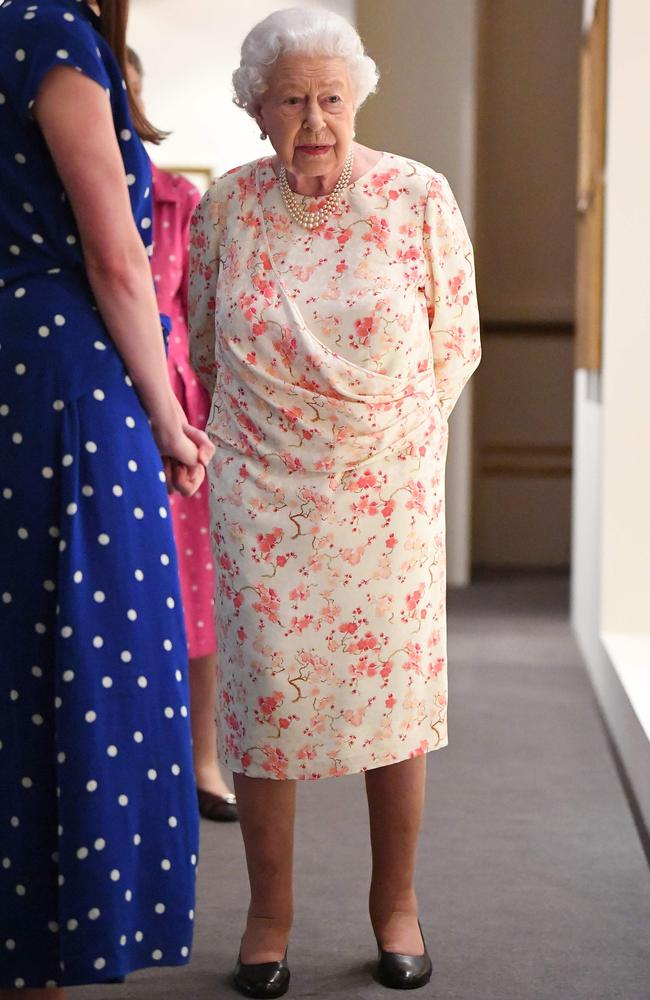 She has an extensive collection of floral frocks, as seen earlier at Buckingham Palace last week. Picture: AFP