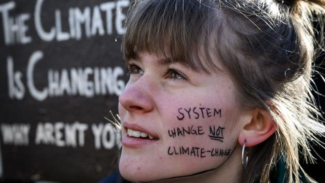 A student takes part in a School Strike 4 Climate protest on the sidelines of the World Economic Forum annual meeting on January 25, 2019 in Davos, eastern Switzerland. Picture: Fabrice Coffrini/AFP