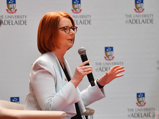 Former prime minister Julia Gillard is speaking to the public on efforts to achieve gender equality. Picture: AAP/David Mariuz