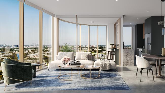 An artist's impression of the open-plan living areas and sweeping views.