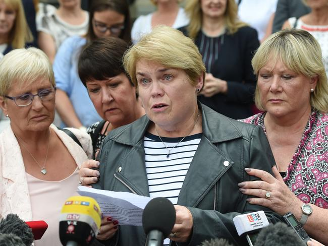 Victim Patricia Welch (centre) reads a statement outside leave Nottingham Crown Court in 2017 after surgeon Ian Paterson was found guilty. Picture: Joe Giddens/PA Wire