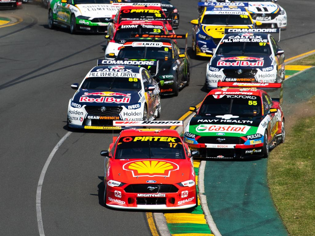MELBOURNE, AUSTRALIA - MARCH 17: (EDITORS NOTE: A polarizing filter was used for this image.) Scott McLaughlin drives the #17 Shell V-Power Racing Team Ford Mustang leads the field at the start of race 4 for the Melbourne 400 Supercars Championship Round at the Albert Park Circuit on March 17, 2019 in Melbourne, Australia. (Photo by Daniel Kalisz/Getty Images)