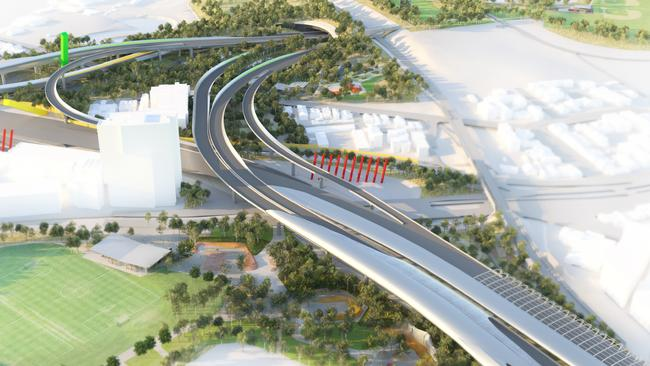 Artist impression of the Royal Park junction for the now axed East West Link.