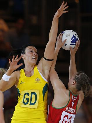 Australia's Bianca Chatfield tries to block Rebecca James of Wales.