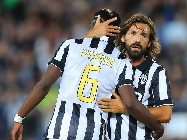 Paul Pogba (L) at Juventus with Andrea Pirlo.