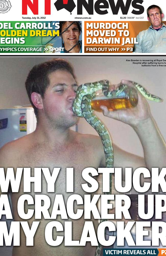 Alex Bowden made the front page of the NT News following his Territory Day mishap in 2012.