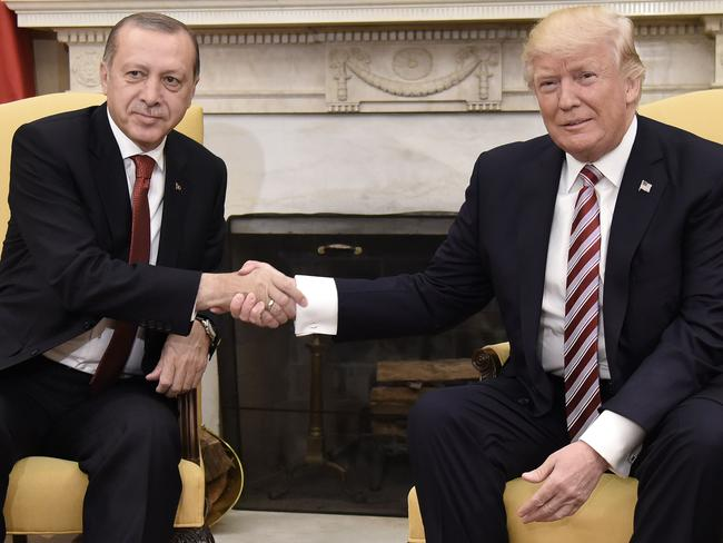 US President Donald Trump shakes hands with Turkish President Recep Tayyip Erdogan in May 2017. Picture: AFP