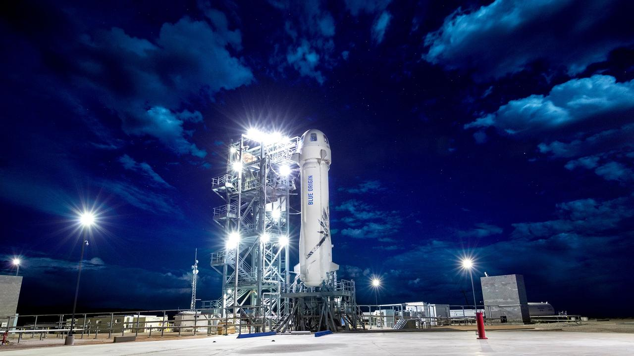 New Shepard on the launch pad. Picture: AFP/Blue Origin