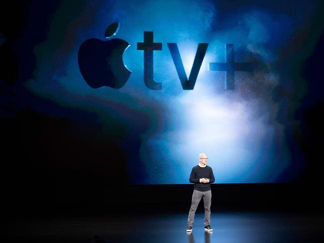 Apple CEO Tim Cook introduces Apple TV+ during a launch event at Apple headquarters on March 25, 2019, in Cupertino, California. Picture: Noah Berger