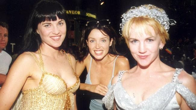Back in the day ... Actor Lucy Lawless and Renee O'Conner with Dannii Minogue before her 1999 Mardi Gras performance. Picture: Supplied.