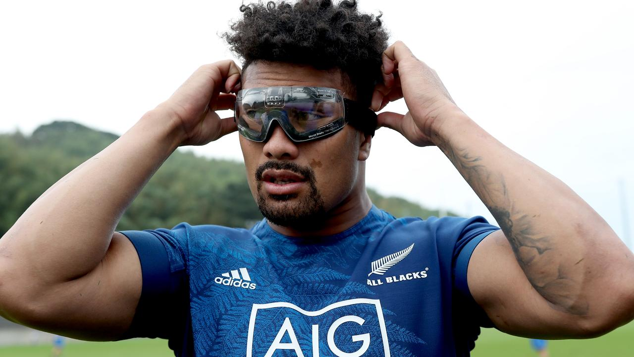 Ardie Savea of the All Blacks wears rugby goggles during a New Zealand training session.