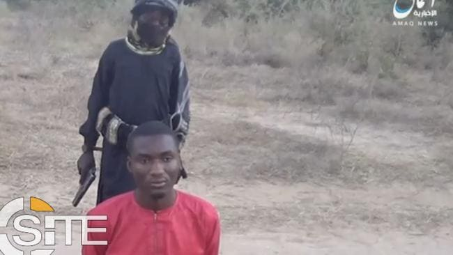 The shocking video shows a child killing a Christian man. Picture: SITE Intelligence