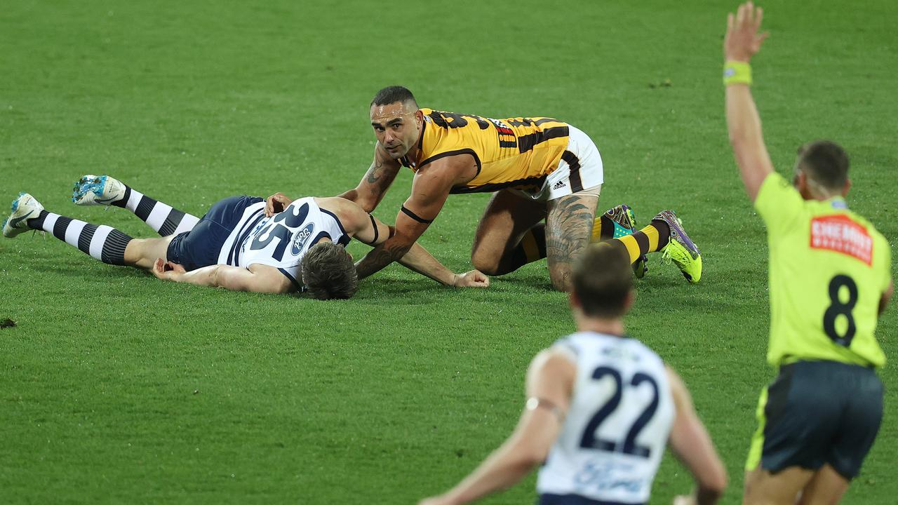 Shaun Burgoune has avoided a one-game ban for his tackle on Patrick Dangerfield. Photo: Michael Klein.