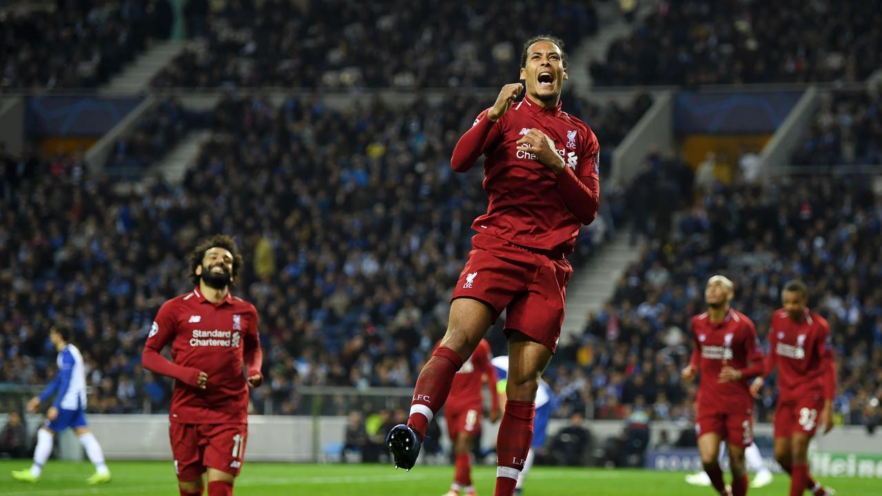 Virgil van Dijk of Liverpool celebrates after scoring his team's fourth goal