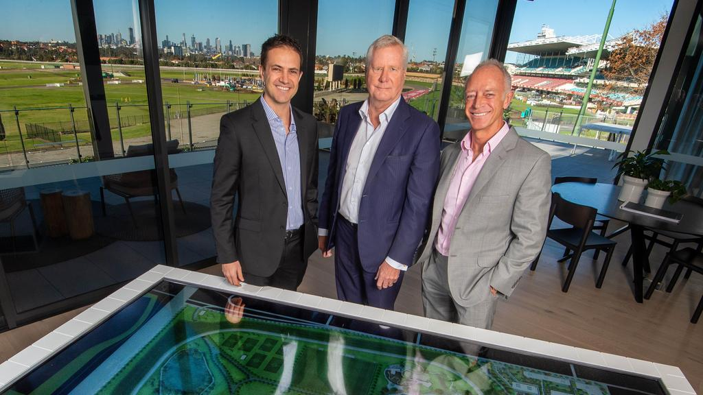 Moonee Valley Racing Club chairman Don Casboult (centre), with Hamton managing director Matt Malseed (left) and Hamton executive chairman Paul Hameister. Picture Jay Town