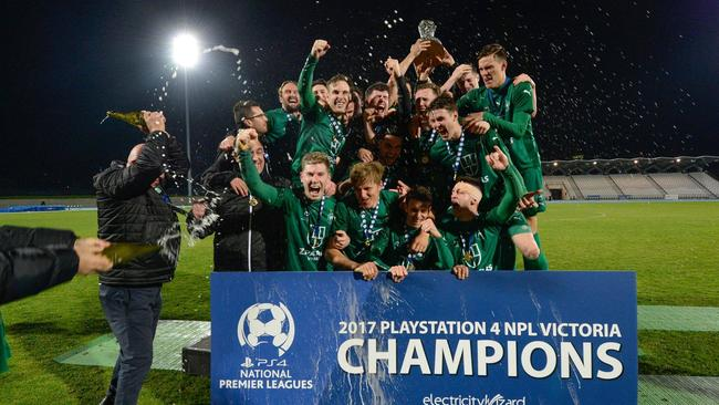 Bentleigh Greens celebrate their NPL title success. Picture: Mark Avellino