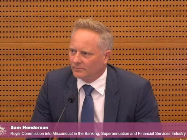 Sam Henderson answers questions at the inquiry into misconduct in banking and financial services.