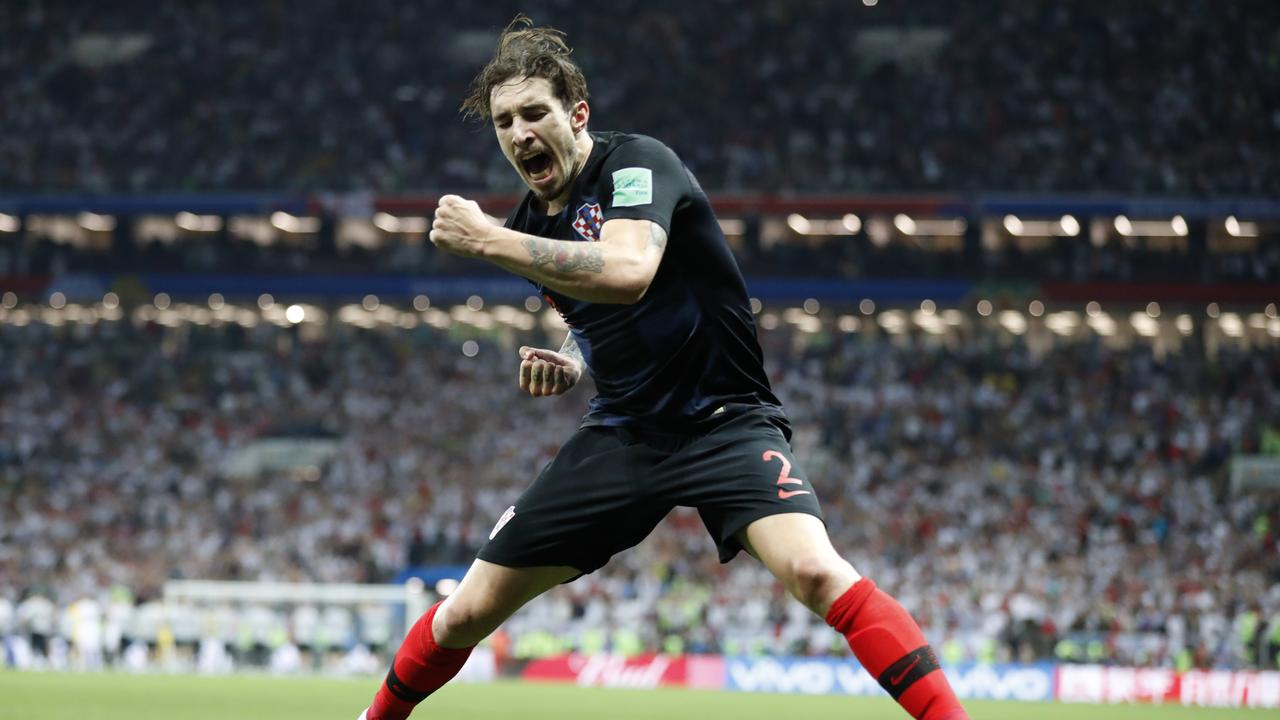Croatia's Sime Vrsaljko celebrates after his team advanced to the final