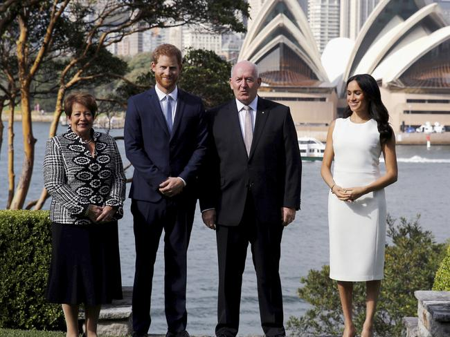Britain's Prince Harry and Meghan, Duchess of Sussex with Australia's Governor-general Sir Peter Cosgrove and his wife Lady Cosgrove. Picture: Phil Noble/Pool via AP