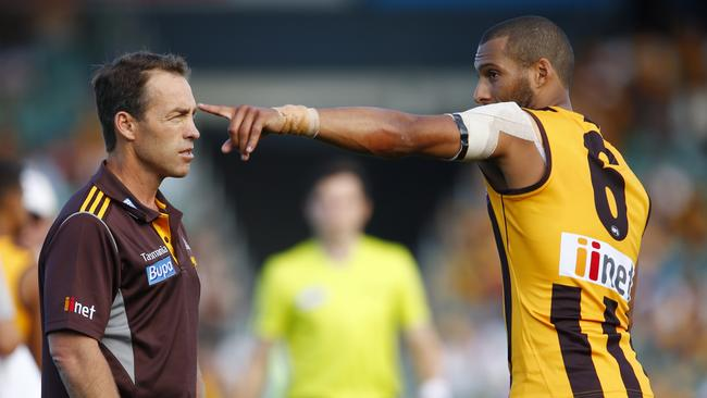 Josh Gibson with Alastair Clarkson. Picture: Michael Klein.