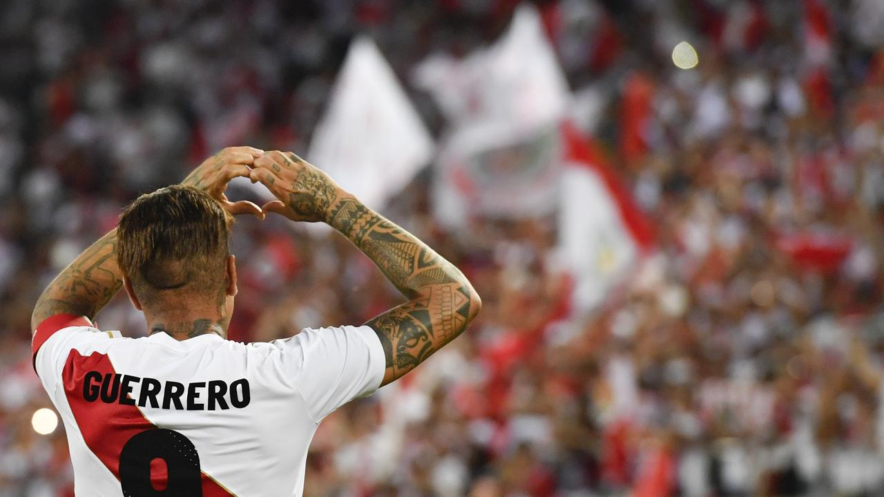 Peru s Paolo Guerrero celebrates after he scored during a friendly soccer  match between Saudi Arabia and c55004b985b9