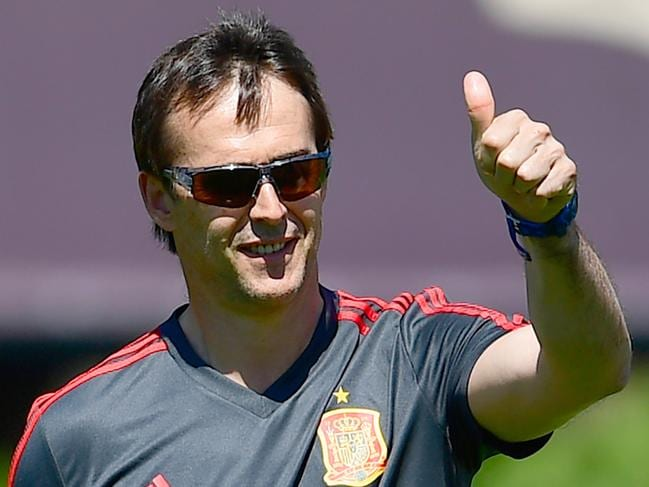 Julen Lopetegui gives a thumb-up during a training session in Krasnodar.