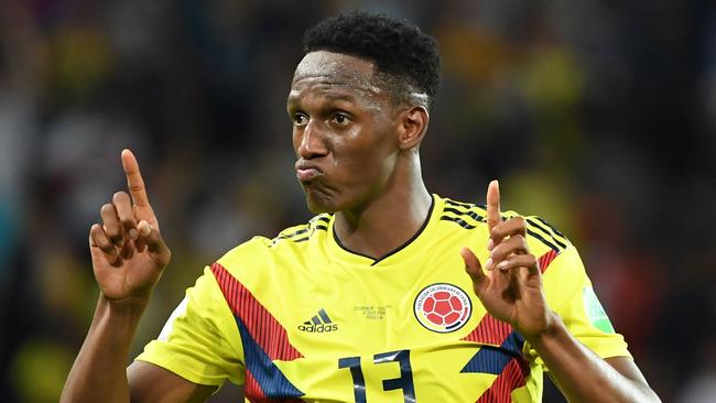 Defender Yerry Mina scored three goals for Colombia at the World Cup.