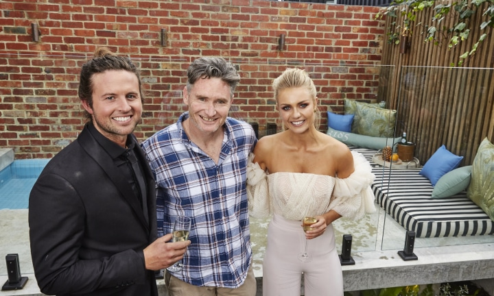 Comedian Dave Hughes has bought the house by the block's winning couple Josh Barker and Elyse Knowles. Source: Channel NINE