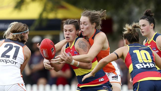 The Adelaide Crows have moved into flag favouritism in the AFLW.