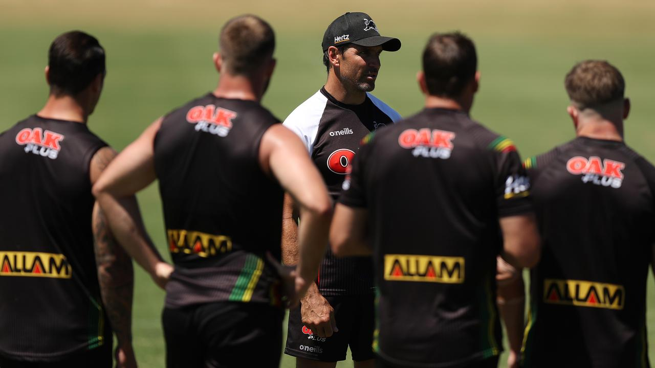 Assistant coach Trent Barrett during Panthers training.