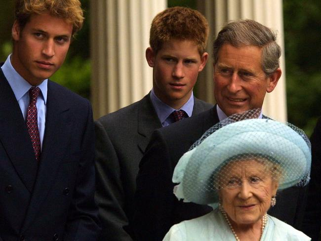 "Harry was allegedly was often ""upset"" that the Queen Mother gave William ""more attention"" Picture: Getty Images"